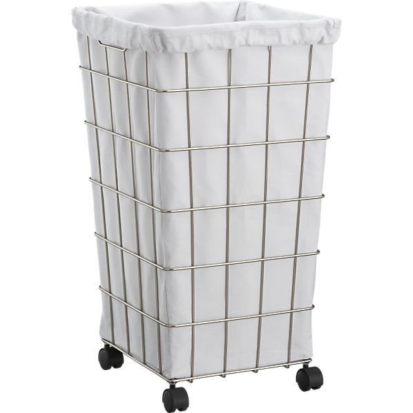 Lovely Laundry Hamper With Wheels Part - 10: $54.95 Great Hamper With Wheels For The Trek To The Basement Laundry!  WireHamperWWhtLinerF10