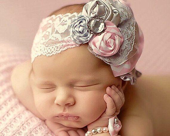 Infant Fabric Flower Rosettes Headband by MalishkaBoutique on Etsy