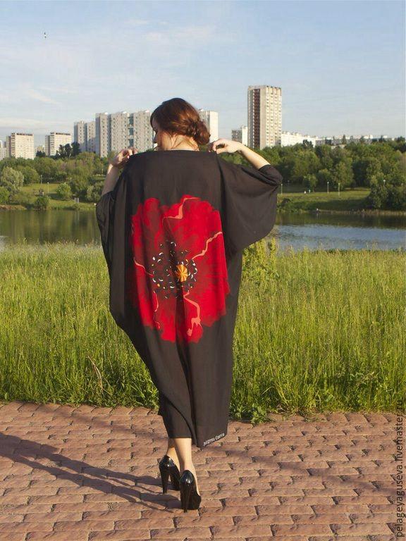 """Купить Кимоно """"Маки"""" - цветочный, туника, пляжная мода, кимоно, туника летняя, туника пляжная"""