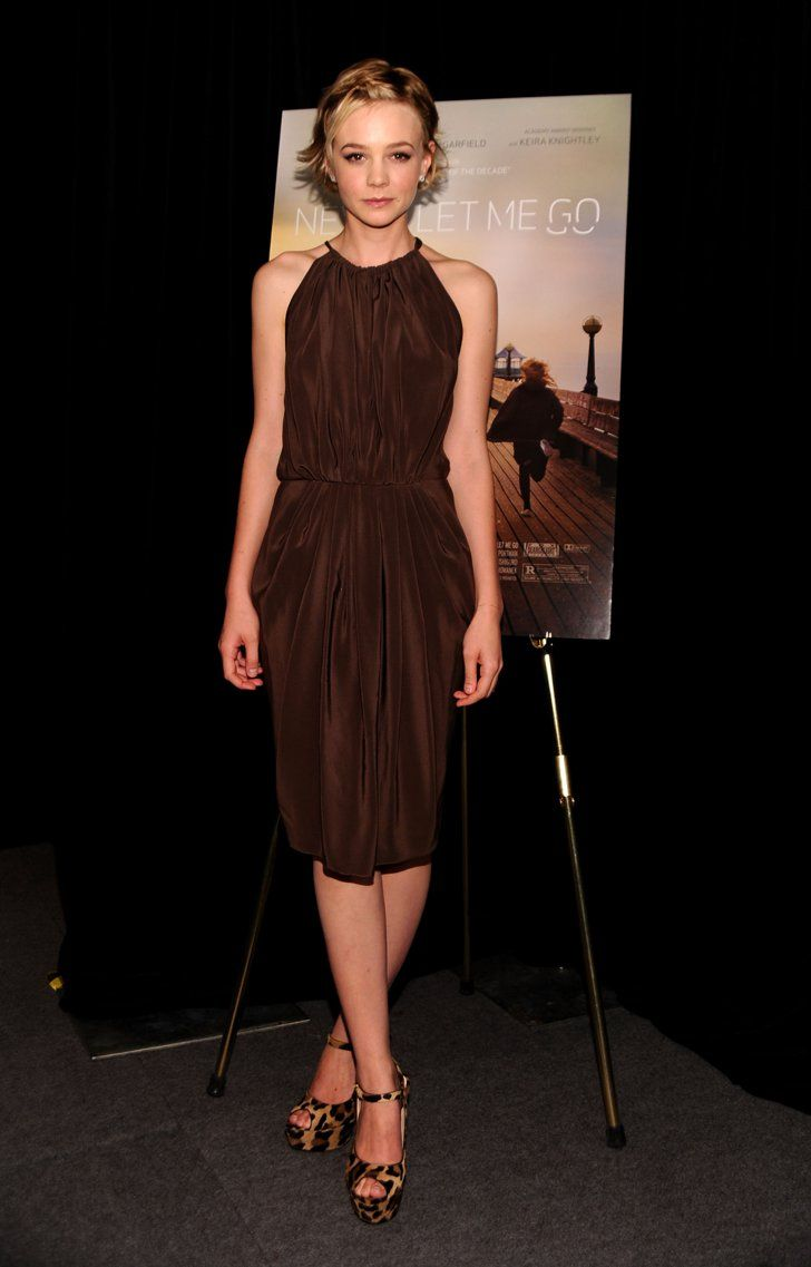 Pin for Later: Happy Birthday, Carey Mulligan: 51 Roaring Red Carpet Moments Carey Mulligan in a Chocolate Vionnet Halter at the 2010 Toronto International Film Festival While promoting Never Let Me Go in Toronto, Carey styled a chocolate crepe de chine Vionnet halter with leopard Prada Mary Janes.