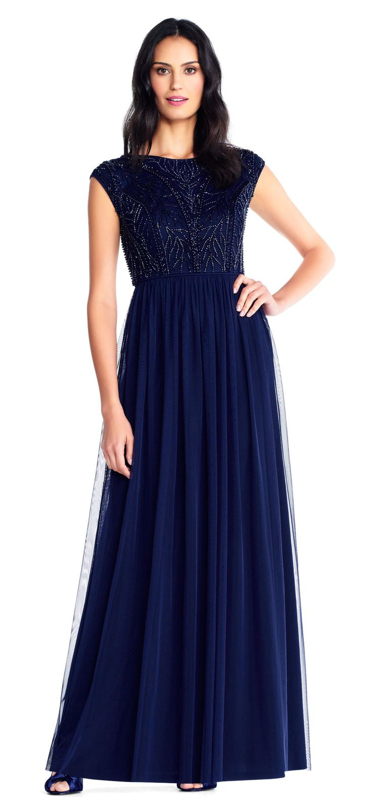 Adrianna Papell   Vine Beaded Chiffon Gown with Cap Sleeves