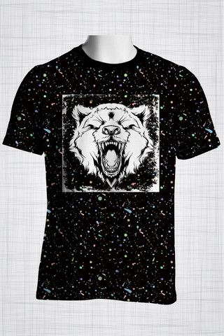 Plus Size Men's Clothing Black Wild Bear T-shirt  Wild Grunge Collection - Plus size men's clothing Fabric for this t-shirt is a lightweight polyester cotton fabric that,  * absorbs moisture  * transfers body perspiration away from the skin  * breathable and lightweight * tear resistant  * shrink resistant * quick drying  * comfortable