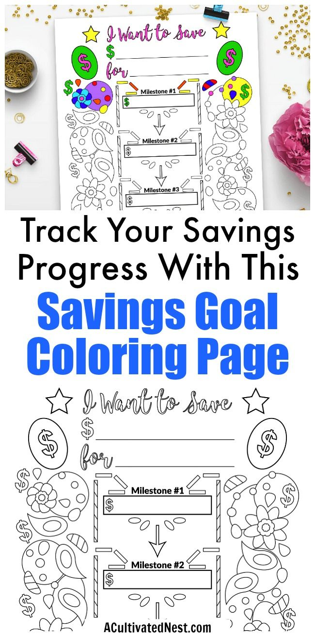 Savings goal planner printable coloring page goals, love color pages