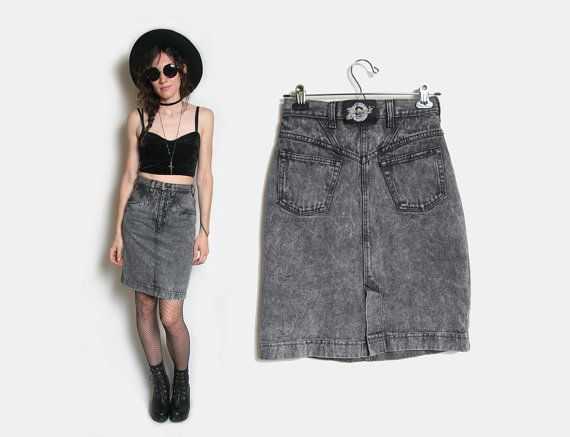 80s Acid Wash High Waisted Denim Skirt  Size 7 by HowToCatchaGhost