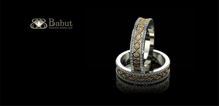 rings made ​​in yellow and white gold with diamonds