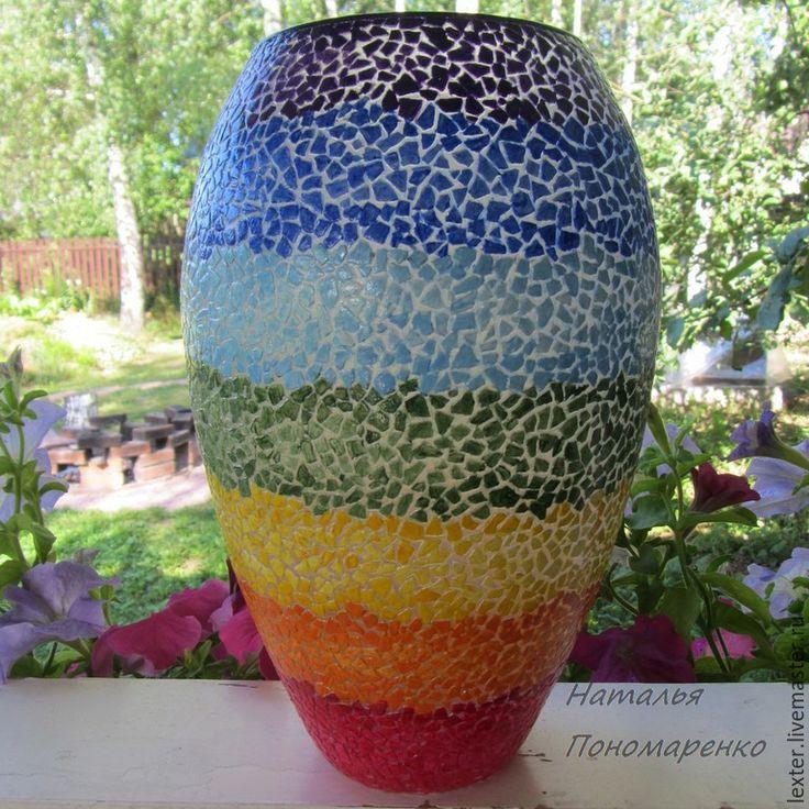 Купить Вазы ручной работы. Стеклянная ваза Настроение - радуга - разноцветный, спектр, цветное стекло