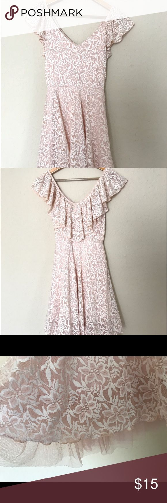 Lauren Conrad Cinderella Collection dress pink This dress is from the Lauren Conrad Disney Cinderella Collection. Can be worn on or off the shoulders. Beautiful pink lace. No tears. No stains. Size small. LC Lauren Conrad Dresses