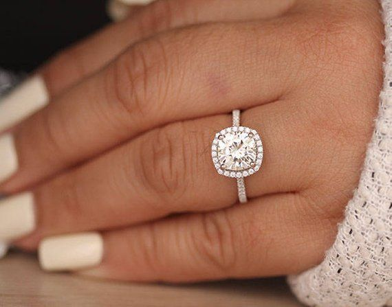Cushion 8mm Moissanite Engagement Ring Forever Classic | Etsy
