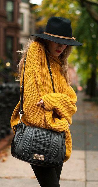Oversized mustard sweater