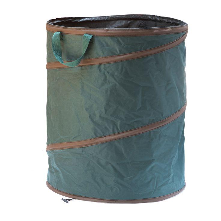 Een verzameltas voor tuinafval. Sterk materiaal, voorzien van een spiraalveer, zodat u hem gemakkelijk en klein kan opbergen.  Ideaal om blad, gemaaid gras, onkruid en andere tuinafval te vervoeren. De tas is licht en makkelijk te dragen. Ideaal voor vele doeleinden in en rond de tuin.  Onderaan de tas zit een extra hengsel, waardoor het omkeren heel gemakkelijk is