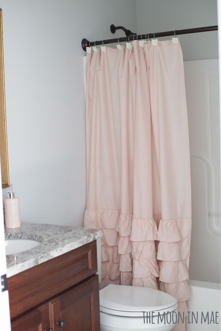 Studio Bath Reveal. Blush Ruffled Shower Curtain. LC