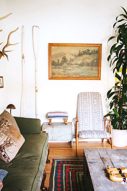 A stunning blog post from sfgirlbybay on the Art of Vintage Paintings.: Green Sofa, Spaces, Living Rooms, Inspiration, Chairs Fabrics, Interiors Design, Rugs, Vintage Art, White Wall
