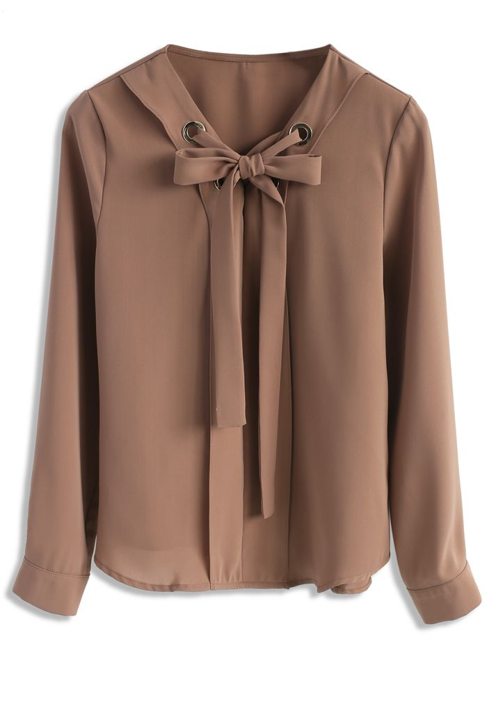 Savvy Bowknot Top in Tan - New Arrivals - Retro, Indie and Unique Fashion