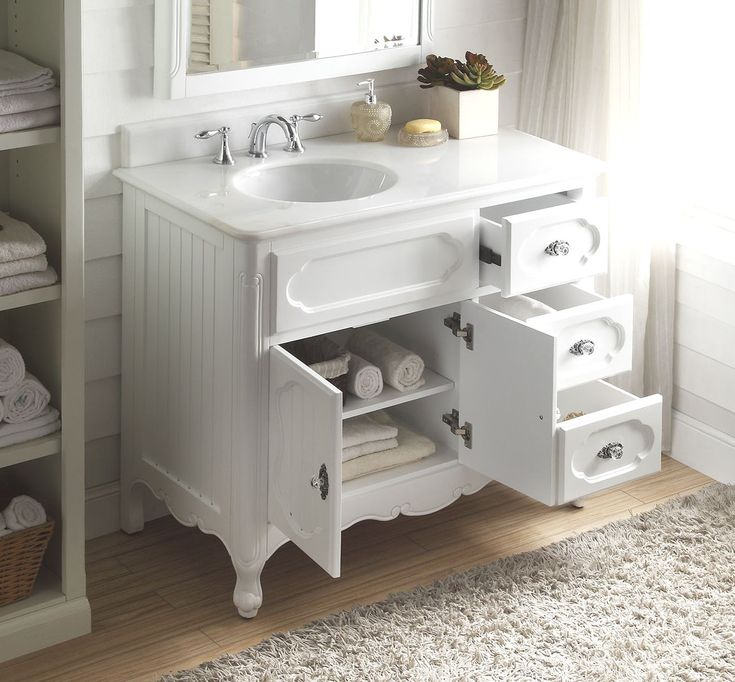 42 Inch Bathroom Vanity Cottage Beadboard Style White Color (42