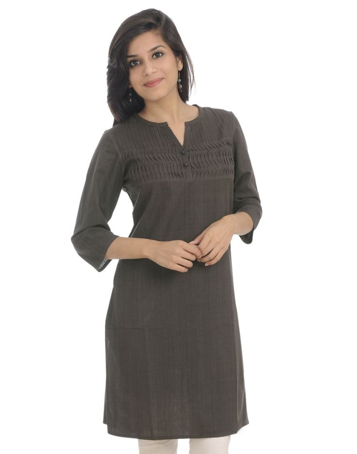 Fabindia.com | Cotton Khadi Pleated Yoke Mini Kurta