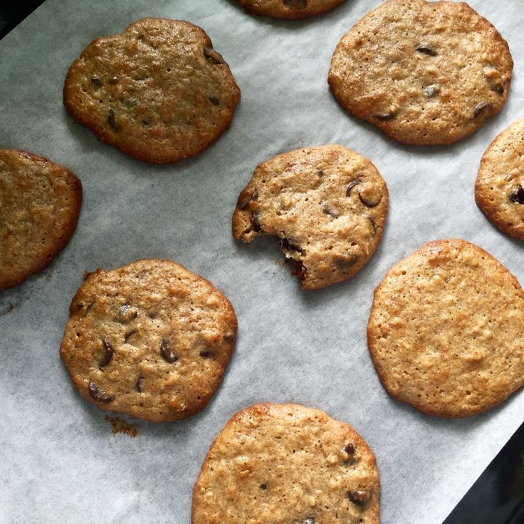 Delicious chewy cookies with nut butter instead of regular butter and no flour! Can easily be made gluten free and dairy free for a tasty treat.