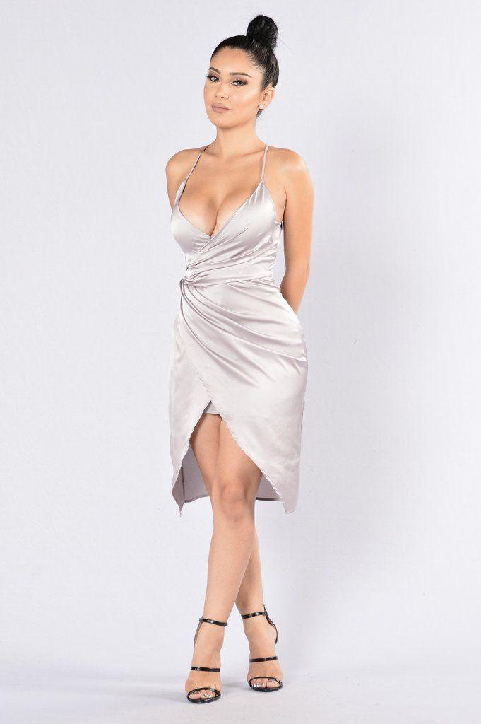 - Available in Burgundy, Grey and Olive - V Neckline - Front Slit - Hidden back Zipper - Satin - Adjustable Strap - 97% Polyester, 3% Spandex; Lining: 100% Polyester