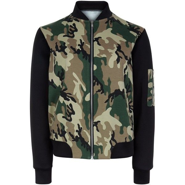 New Look Teens Green Camo Print Colour Block Bomber Jacket ($37) ❤ liked on Polyvore featuring outerwear, jackets, coats, green pattern, colorblock bomber jacket, camoflauge jacket, camoflage jacket, camouflage jacket and long sleeve jacket
