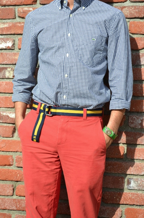 Navy Gingham with Red Pants.