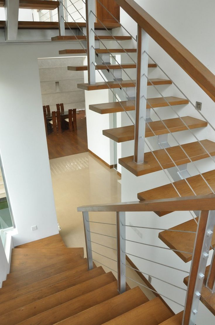Fascinating Home Design For Modern Family: Fabulous Staircase Design With  Minimalist Style Used Wooden Material In Modern Residence House Ex.
