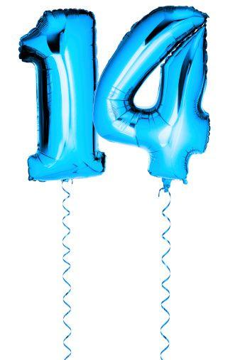 Синие воздушные шары в форме ряда 14