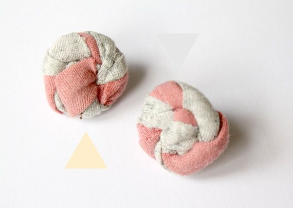 Fabric round post earrings Salmon Grey by ganbayo on Etsy
