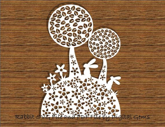 Paper Cut Template, Cute Rabbit and Tree Design, Digital Download, SVG files and PDF Printable File Personal and Commercial Use