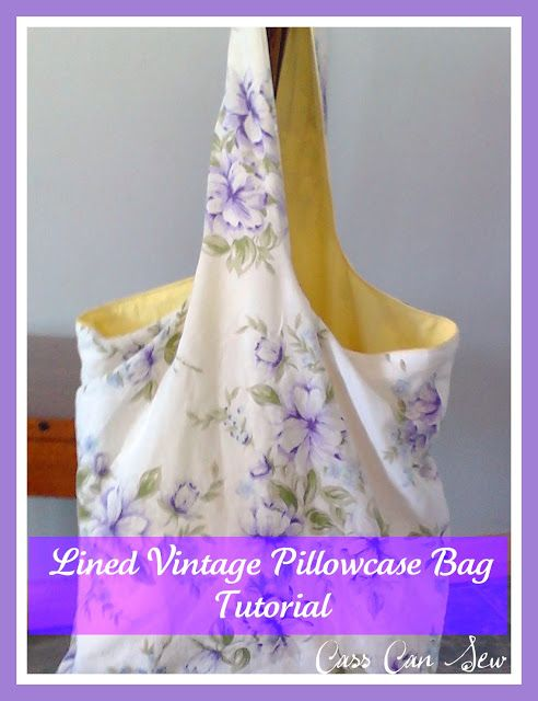 Tutorial: Lined Vintage Pillowcase Bag lining makes it stronger.Be sure to double sew the sides and for sure the bottom.Especially if you plan to use it as a grocery bag.enjoy..Easy to follow instructions great for the beginner.