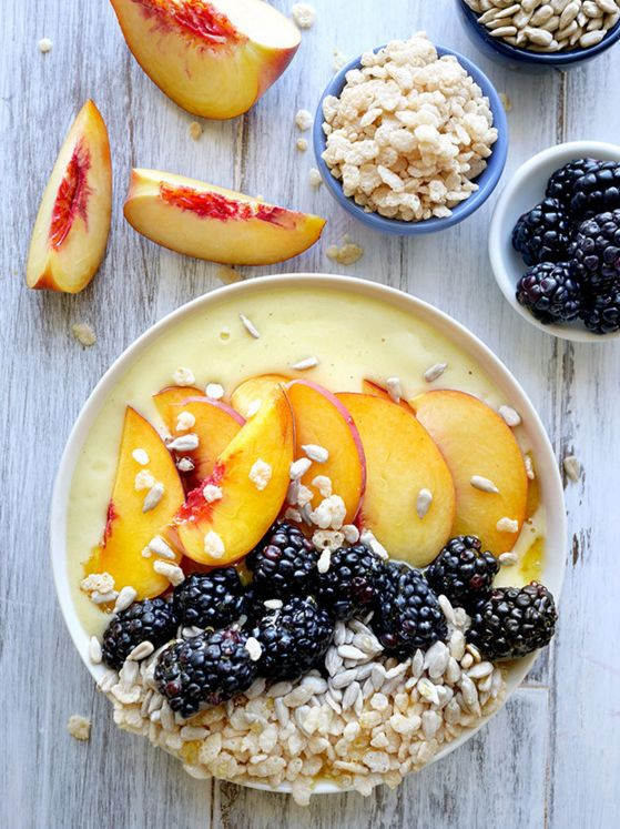 Pineapple, Banana & Peach Smoothie Bowl #healthy #breakfast