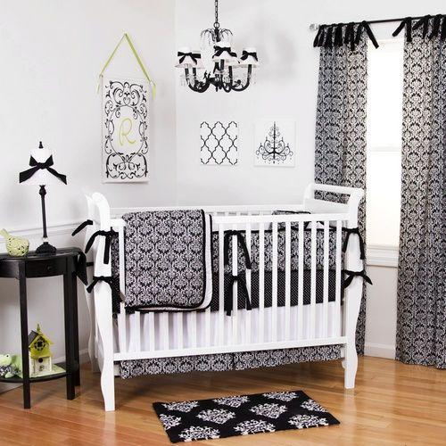 black damask crib bedding gender neutral black and white damask pattern baby bedding. Black Bedroom Furniture Sets. Home Design Ideas