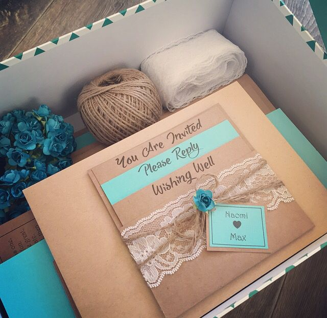 DIY turquoise wedding invitations