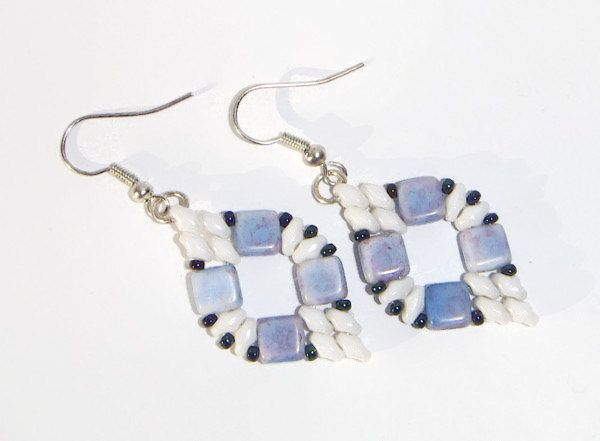 Bead Earrings, Beaded Earrings, Blue Earrings, Blue Marbled Earrings - pinned by pin4etsy.com