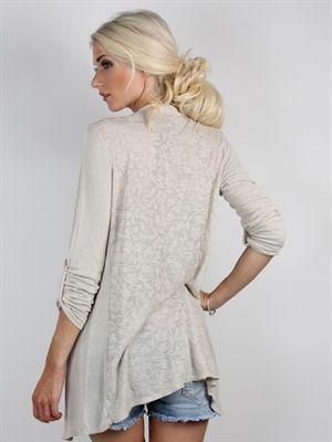 Zanca Sonne - Sandfarvet cardigan med smuk blonde ryg