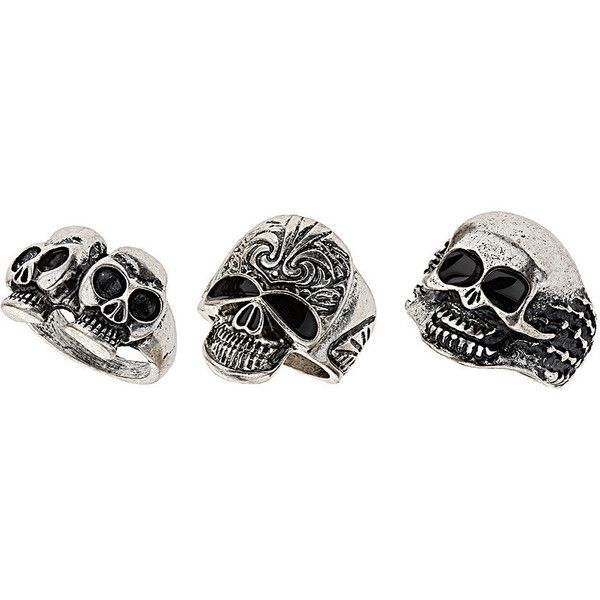 Mix Skull Ring Pack ($25) ❤ liked on Polyvore
