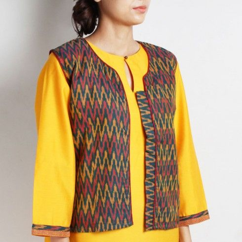 Buy Corporate Set of Multicoloured Ikat Cotton Jacket with Yellow Cotton, Red Handloom Cotton & Cream Cotton Jacquard Kurta & Brown Jute Bottoms