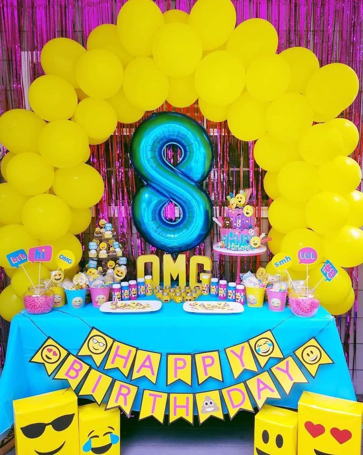 Emoji Birthday Party Emoji Party Emoji Party Theme Emoji Banner Balloon Table Arch E Girls Emoji Birthday Party Emoji Theme Party Emoji Birthday Party