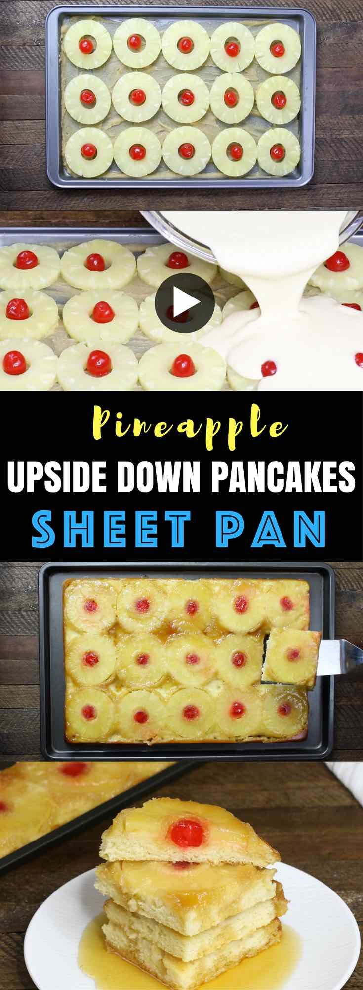 Sheet Pan Pineapple Upside Down Pancakes – combines mouth-watering caramelized sugar, sweet pineapple and cherries on fluffy pancakes! Make it in a sheet pan to save time and feed a crowd for breakfast or brunch (and less mess too!) All you need is some simple recipes: pancake mix, milk, eggs, brown sugar, butter, pineapple and maraschino cherries. So Good! Quick and easy recipe, breakfast and brunch. video recipe.   Tipbuzz.com