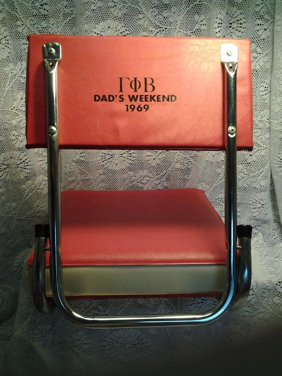"Vintage Stadium Seat with back ""Dad's weekend 1969"""
