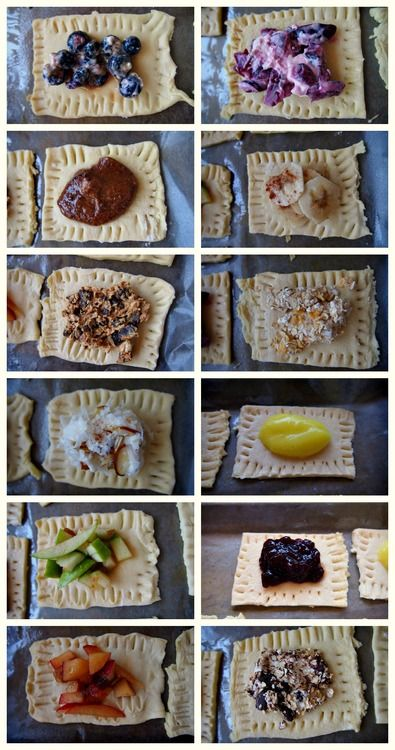 Healthier Poptart-like Fruit filled Breakfast Pastries: Blueberry Cobbler,  Sweet Peach,  Brown Sugar Cinnamon,  Blackberry Jam,  Banana Cinnamon,  Lemon Curd,   Apple Pie Oats,   Cherry Cream,  Coconut Almond Cream,   Sweet Green Apple,  Dark Chocolate Latte,  Smores