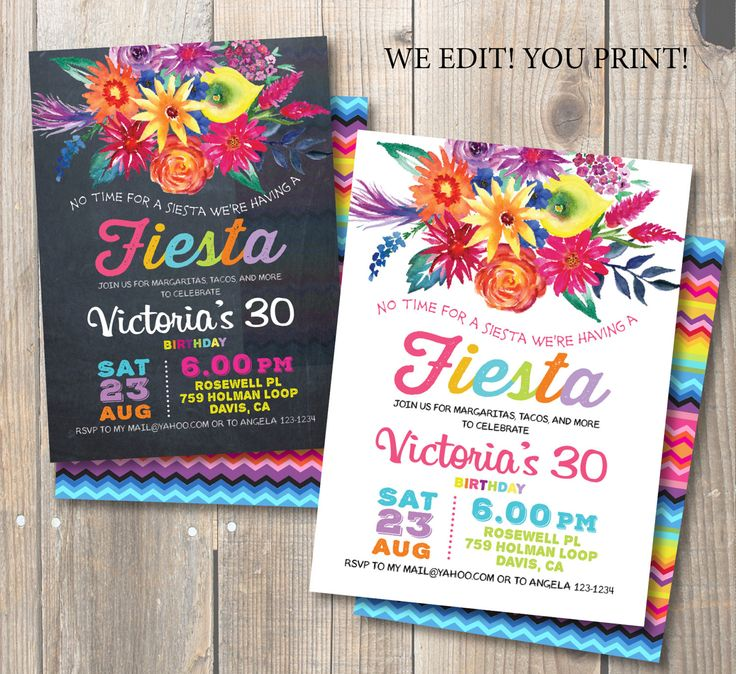 Fiesta Birthday Party Invitation. Mexican party. Watercolor