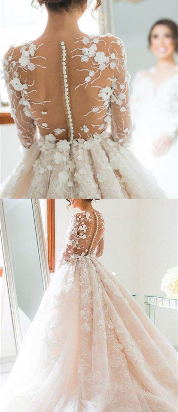 dream wedding dresses, sheer back wedding dresses, big day dresses with appliques