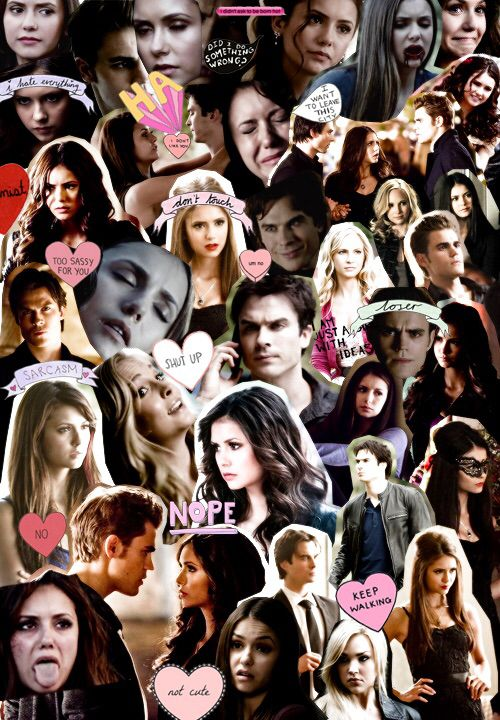 Tvd the vampire diaries collage nina dobrev paul wesley ian somerhalder candice accola