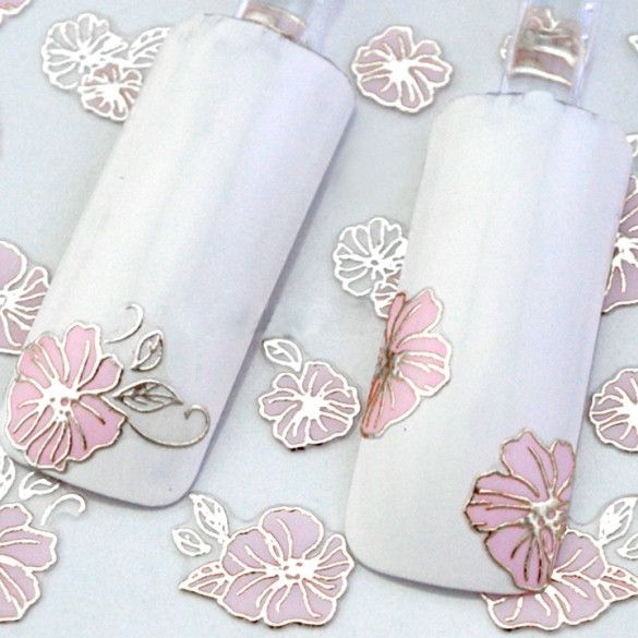 24 Sheets 3D Floral Nail Art Stickers Decals Decorations Hot Stamping Pink Flowers Design