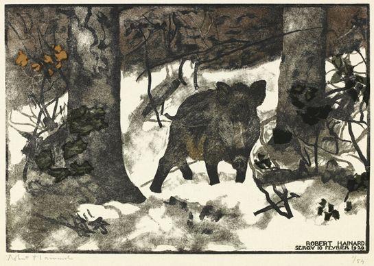 Robert HAINARD Gravures Gravures Gravure sur bois n° 13 Obs. 10.2.1929 Sergy (Ain, France), Gr. 4.1929 boar