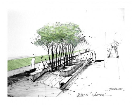 Concept sketch public space representation in landscape for Concept of space in architecture