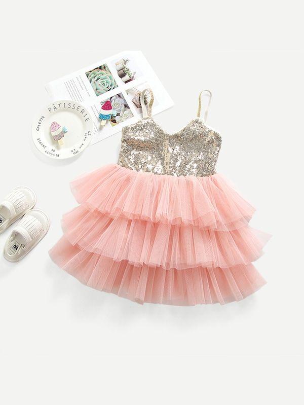 4e049882ef96 Toddler Girls Contrast Sequin Layered Hem Cami Dress -SheIn(Sheinside)