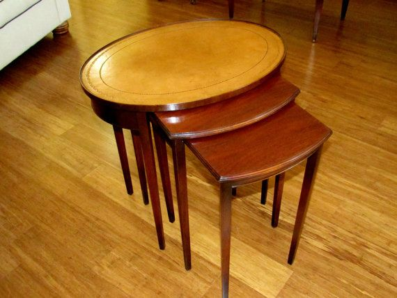 Set Of 3 Beautiful Mid Century Vintage Oval Top Mahogany Nesting Tables  With Leather Top. The Tables Are Great For Entertaining! By  VintageQualityFinds On ...