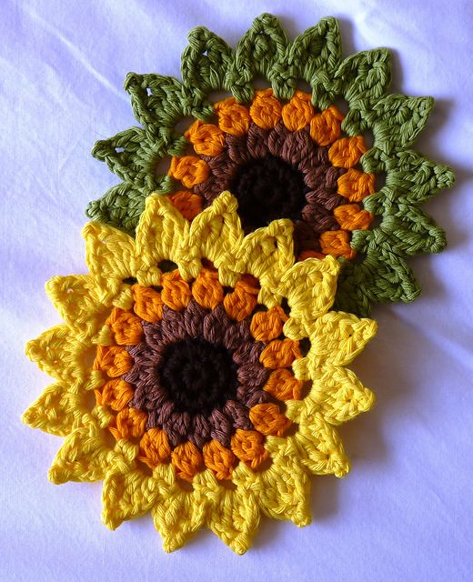 Sunflowers Coasters and placemats pattern by Happy Heart Fiber Art