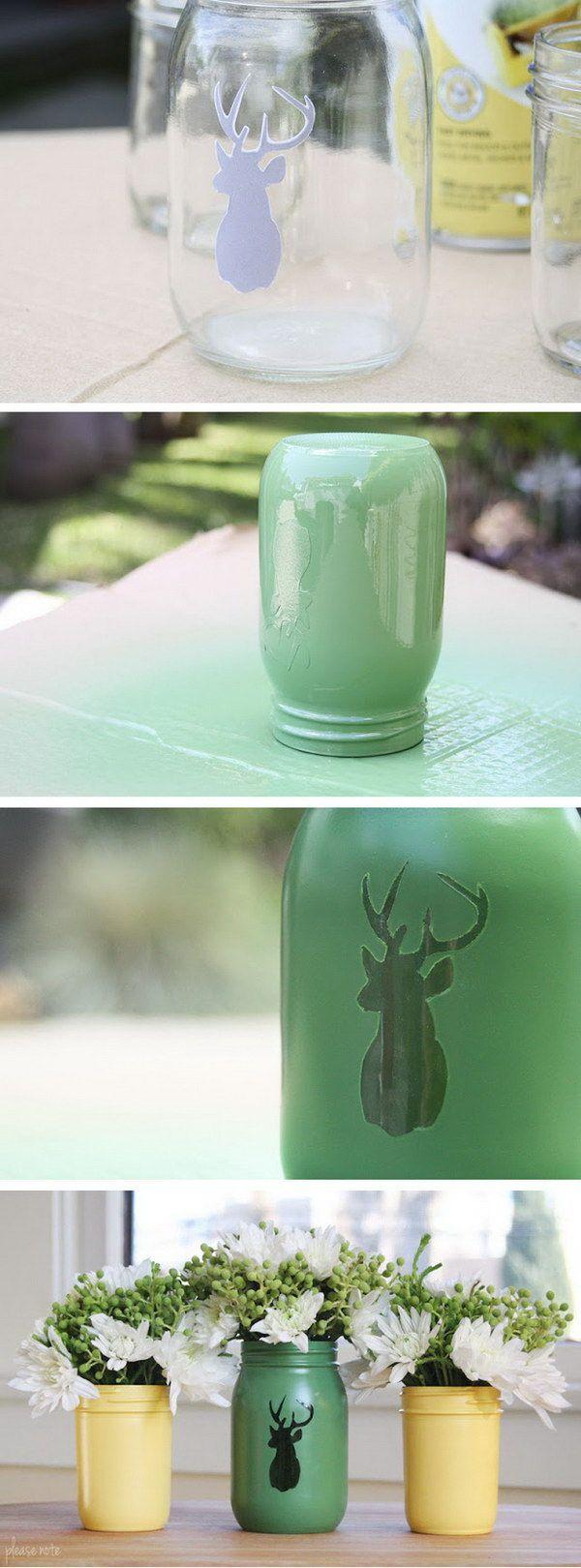 DIY Stenciled Mason Jar Vase. -minus the reindeer.