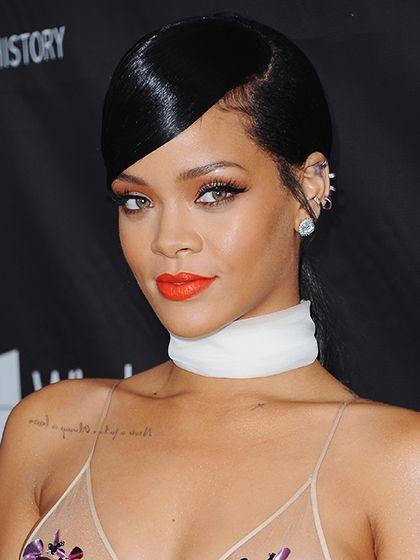 30 Lipstick Ideas to Try Now:  Rihanna's tangerine orange lips   allure.com